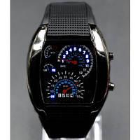 Бинарные часы Led Watch Спидометр мужские  Черные