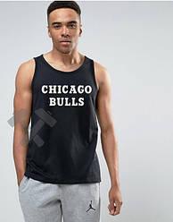 Хлопковая мужская майка Чикаго Буллс (Chicago Bulls), летняя брендовая майка трикотажная, копия
