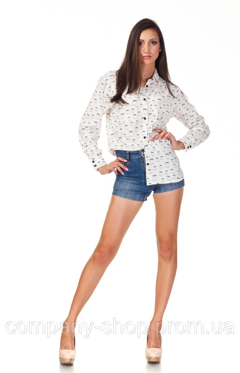Женская белая рубашка. Модель К090_котики
