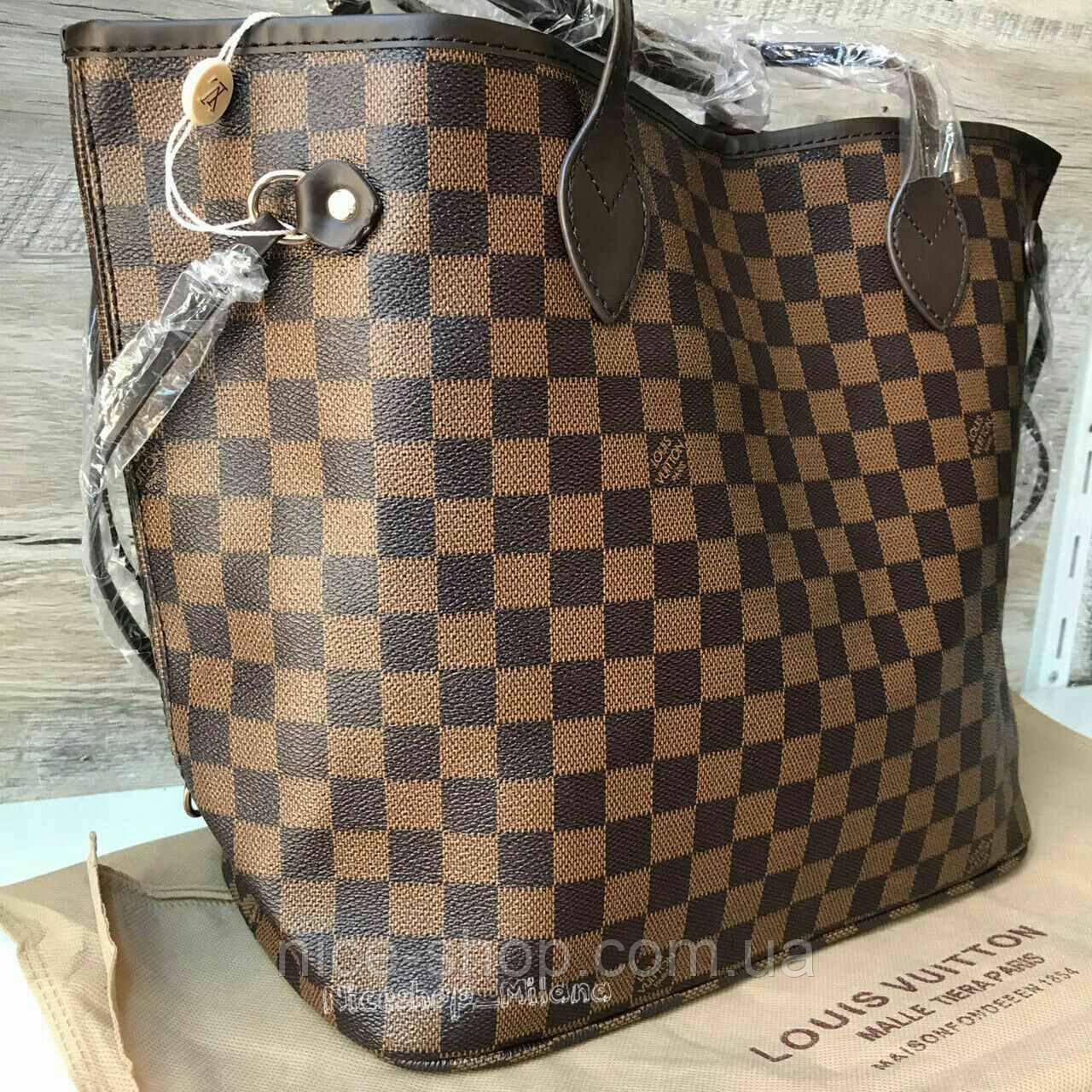 756e4285d1d1 ... Сумка Louis Vuitton Neverfull Medium коричневая в клетку, фото 4 ...