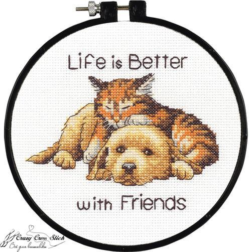 Набор для вышивания крестом Лучше с друзьями/Better with Friends DIMENSIONS 72-74549