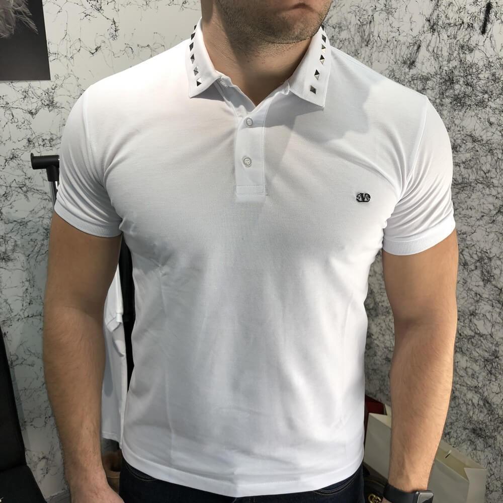 Футболка-поло мужская Valentino Polo Rockstud 18766 белая