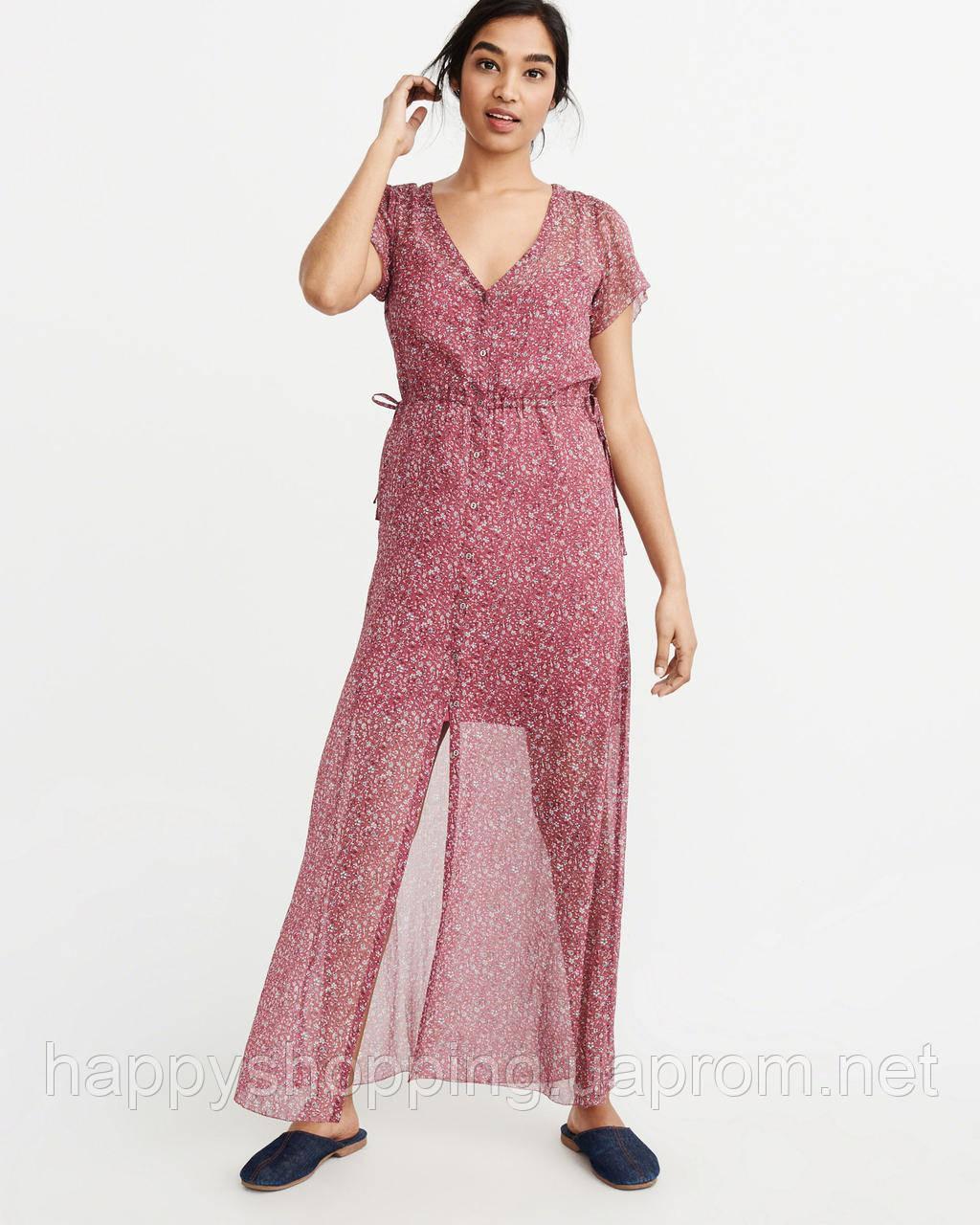 Женское бордовое макси платье на пуговицах  с цветочным принтом Abercrombie & Fitch