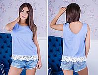 Блузка женская лен + кружево, фото 1