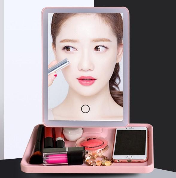 Зеркало косметическое с подсветкой, настольное розовое