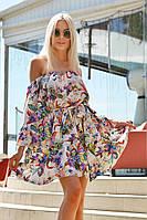 Женское яркое платье с открытыми плечами и рукавами волан, фото 1