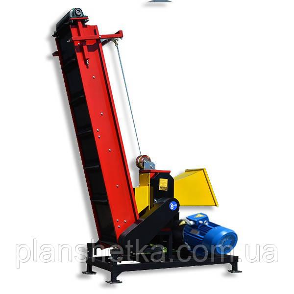 """Измельчитель веток с транспортером и электро мотором 11 кВт диаметр веток 120 мм """"Shkiv"""""""