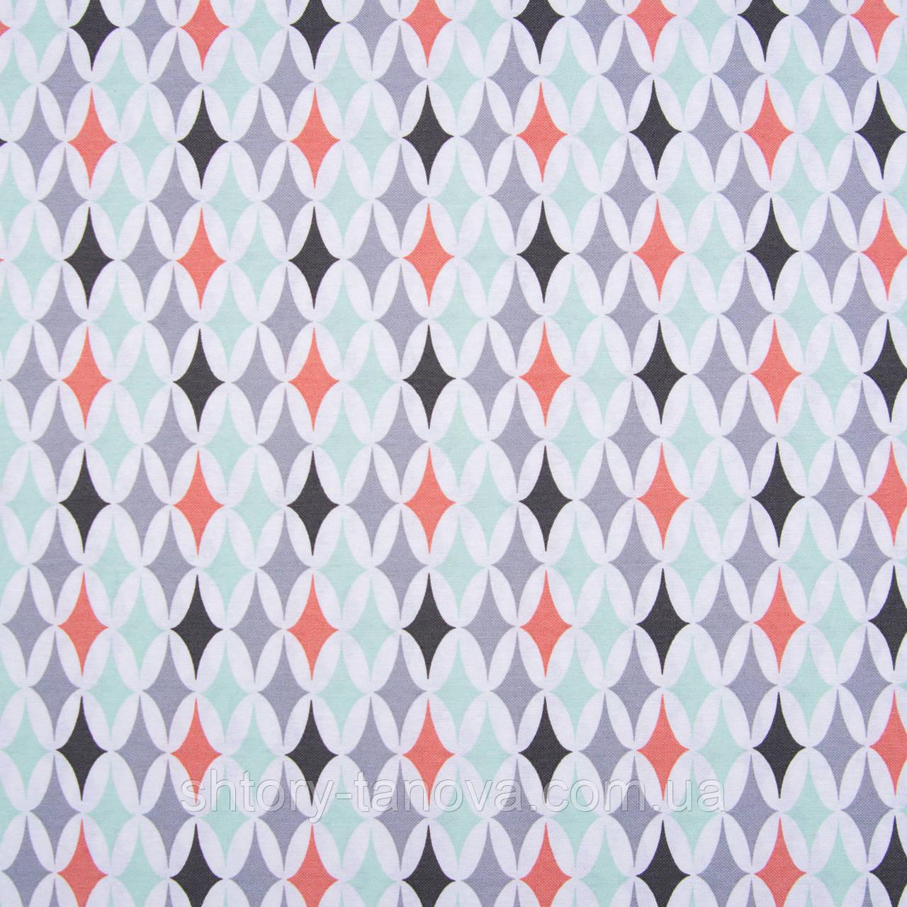 Компаньон геометрия ткань для штор лазурь