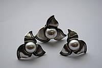 Комплекты  Salvatore Ferragamo вставка жемчуг(серьги,кольцо)