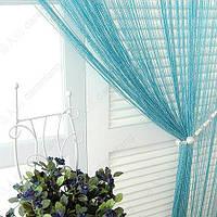 Нитяные шторы с люрексом (бирюза с серебрянным люрексом), фото 1