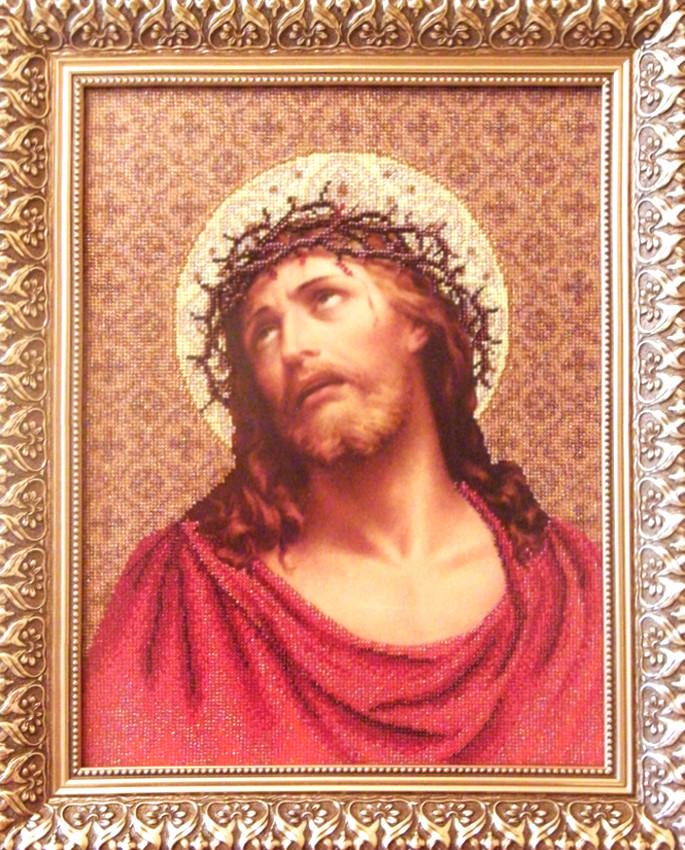 Схема для вишивки бісером Ісус у терновому вінку. -