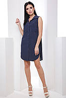 Стильное лёгкое платье-рубашка без рукавов классического кроя 7055/6, фото 1
