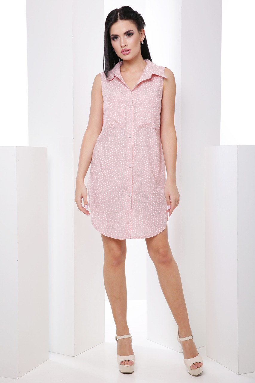2832f680404 Стильное лёгкое платье-рубашка без рукавов классического кроя 7055 7 - My  Oazis в