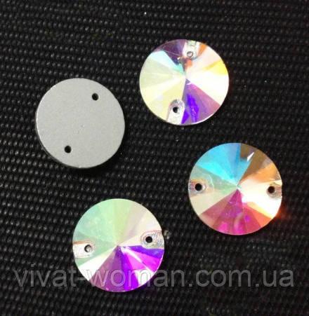 Стразы пришивные Риволи (круг) d 18 мм Crystal AB, стекло