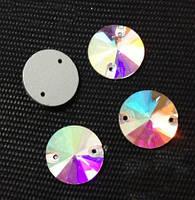 Стразы пришивные Риволи (круг) d 18 мм Crystal AB, стекло, фото 1