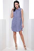 Стильное лёгкое платье-рубашка без рукавов классического кроя 7055/8, фото 1