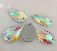 Стразы пришивные Капля 17*28 мм Crystal AB, стекло