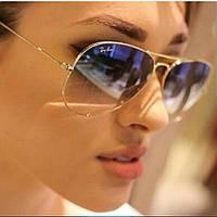Очки Ray Ban авиаторы серо-голубой переход оправа золото реплика