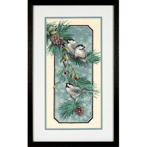 Набор для вышивания крестом Птицы на ветке/Chickadees on a Branch DIMENSIONS 70-03199