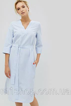 Полосатое хлопковое прямое платье с поясом (Torel crd), фото 2