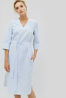 Полосатое хлопковое прямое платье с поясом (Torel crd)