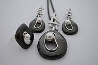 Комплект Salvatore Ferragamo черненое серебро с жемчугом(серьги,кулон,кольцо)