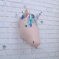 Голова на стену Единорог бежевый