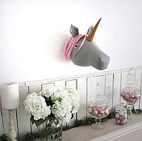 Единорог серый с розовой гривой, фото 1