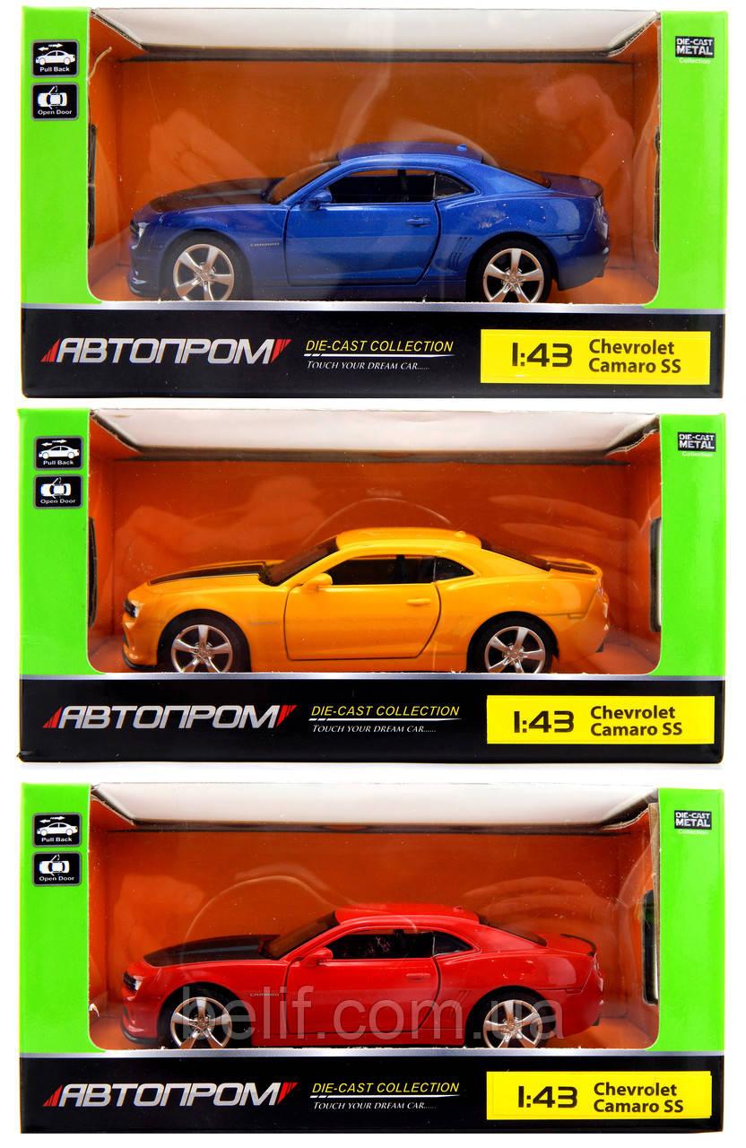 """Машина металл 67326 """"АВТОПРОМ"""",Cherolet Camaro SS,откр.двери,в кор.14,2*7,2*6,5см"""