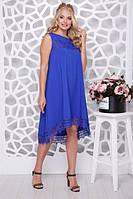 Летнее платье большого размера СОЛНЫШКО-КРУЖЕВО электрик  Lenida 48-56размеры