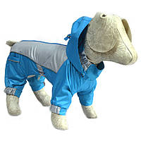 Комбинезон-дождевик с капюшоном для собак бирюзовый