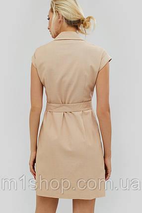 Двубортное льняное платье бежевого цвета (Liksi crd), фото 2