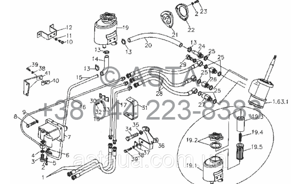 Система рулевого управления (используется для стороны масляного бака рулевого управления) на YTO X80
