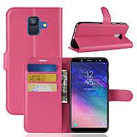 Чехол Samsung A600 / A6 / A6 2018 книжка PU-Кожа розовый