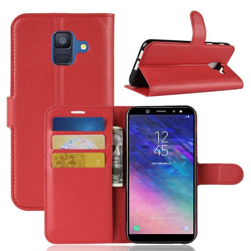 Чехол Samsung A600 / A6 / A6 2018 книжка PU-Кожа красный