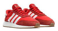 Кроссовки Adidas Iniki красные с белыми полосками на белой подошве