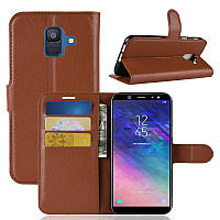 Чехол Samsung A600 / A6 / A6 2018 книжка PU-Кожа коричневый, фото 1
