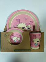 Детский набор посуды из бамбука Happy Baby розовый xiyibaby