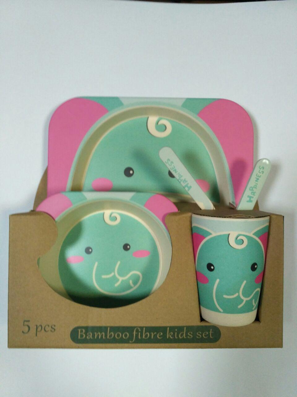 Детский набор посуды из бамбука Слоник xiyibaby