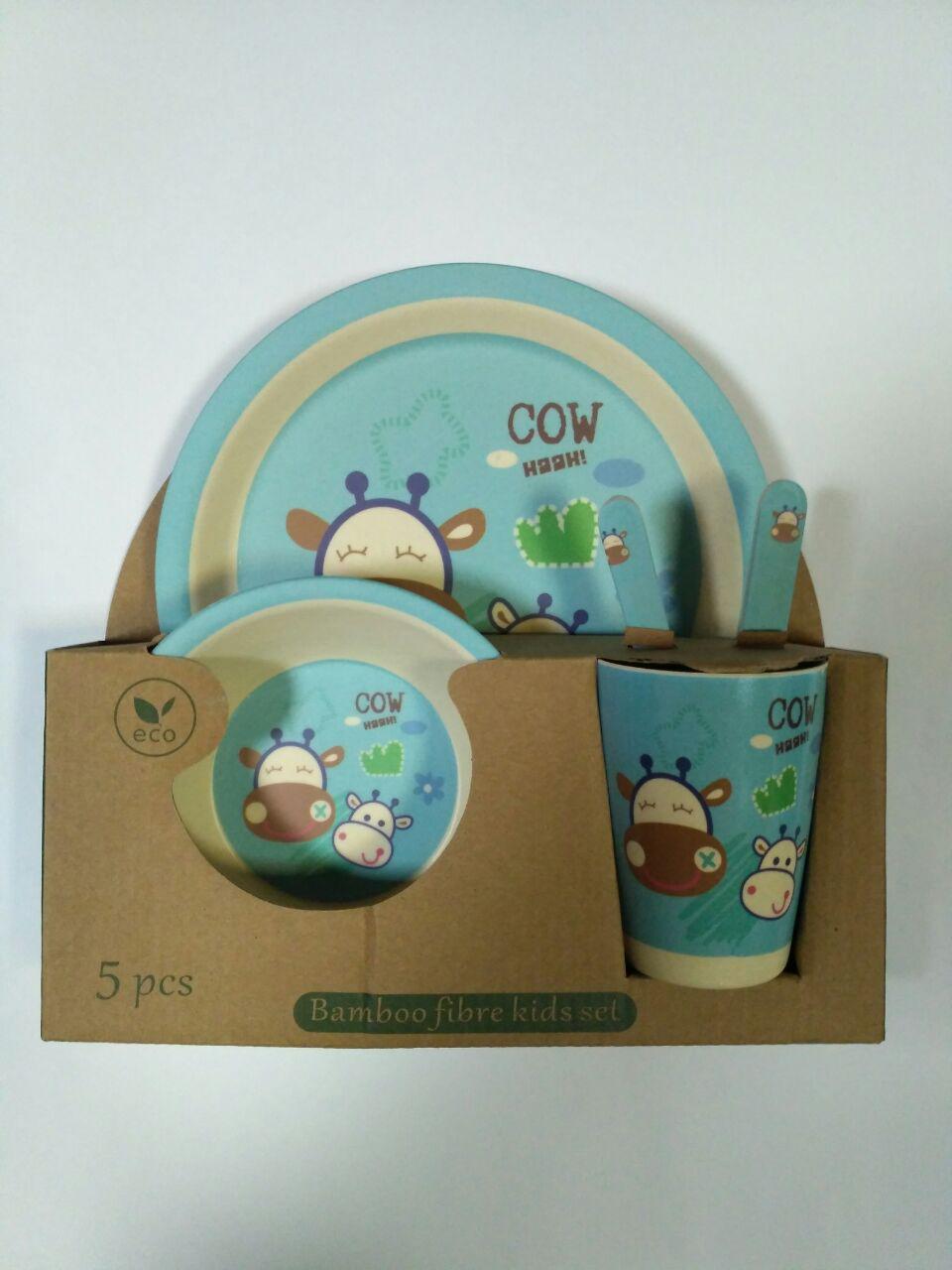 Детский набор посуды из бамбука Коровка xiyibaby круг