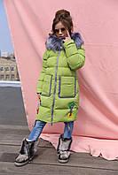 Зимнее пальто для девочки Рейни рост 116 - 158, Новая коллекция Nui very фисташка