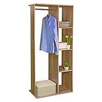 """Открытый шкаф для одежды из ДСП с полками """"Галлант 2B"""" дуб"""
