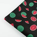 """Ткань хлопковая """"Маленькие арбузы"""" размером 5 см на чёрном фоне (№1408), фото 6"""