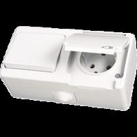 Блок влагозащищенный выключатель + розетка с заземлением Gunsan Memliyer, NE 07 11 181, белый
