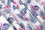 """Ткань хлопковая """"Розовые фламинго с синей веткой пальмы"""" (№1403), фото 4"""