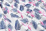 """Ткань хлопковая """"Розовые фламинго с синей веткой пальмы"""" (№1403), фото 6"""