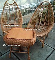 Мебель в кафе плетеная в форме яйца