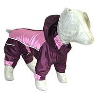 Комбинезон-дождевик с капюшоном для собак бордовый