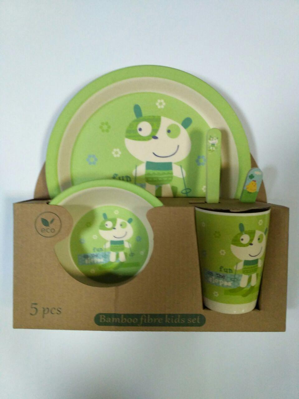 Детский набор посуды из бамбука Веселый зеленый xiyibaby