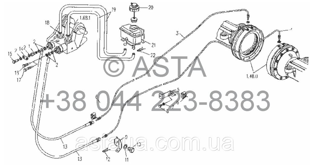 Рабочая тормозная система - трубопровод на YTO X804
